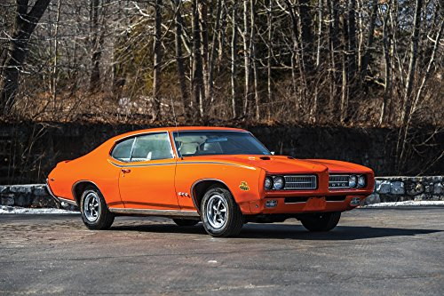 Pontiac GTO The Judge Hardtop Coupe (1969) Car Print on 10 Mil Archival Satin Paper Orange Front Side Static View - Pontiac Hardtop Gto Judge