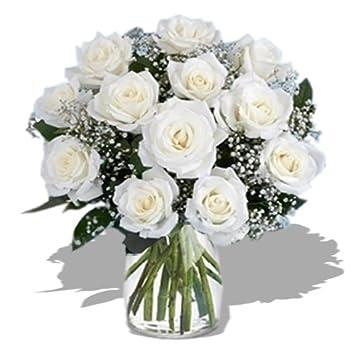 Amazon Dozen Long Stem White Roses Fresh Cut Format Rose