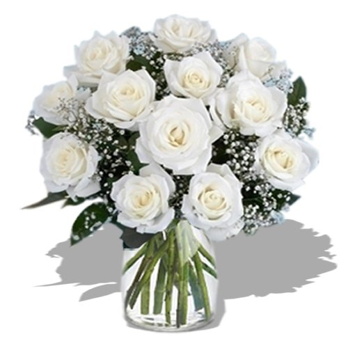 Dozen Long Stem White Roses by Send Gifts