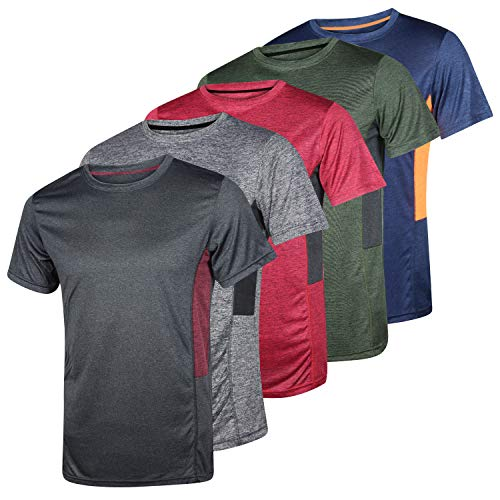 Men's Quick Dry Fit Dri-Fit Short Sleeve Active Wear Training Athletic Essentials Crew T-Shirt Fitness Gym Workout Casual Undershirt Top...