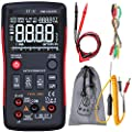 Digital Multimeter True-RMS 3-Line Dispaly 9999 Counts Button Design Auto-Ranging DMM Temperature Capacitance AC/DC Voltage Current Multi Meter Tester with Analog Bargraph