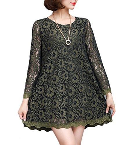 レディエコーファッションTAOHUA レディース レースドレス ワンピース 大きいサイズ 花柄 透かし彫り 無地 ハーフ丈