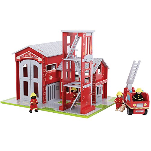 Bigjigs Toys Heritage Playset Fire Station and (Engine Playset)