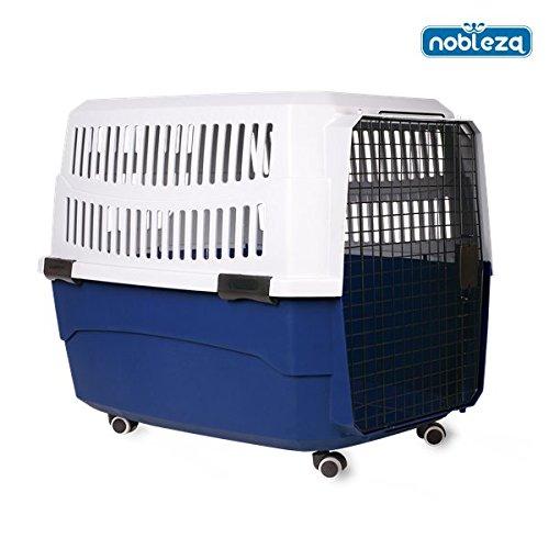 Nobleza - Transportín rígido para perros o gatos con ruedas. Color azul y gris. Medidas: largo 91.5 cm x ancho 61 cm x alto 66 cm