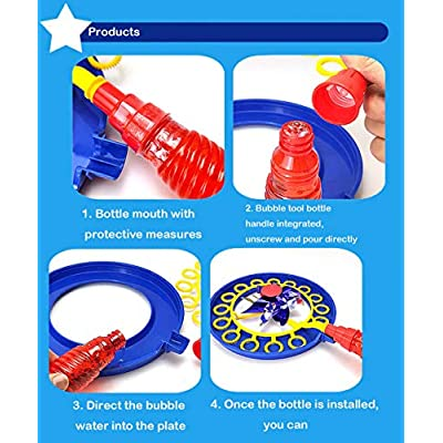 Bubble Wand 2 in 1 Windmill Bubble Blower and Pinwheel Spinner for Kids Adults Multi-Use Pinwheel Bubble Stick with Bubble Solution for Kids. (Red) : Baby