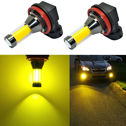 Alla Lighting Xtreme Super Bright LED H11 Fog Light Bulbs - High Power COB Universal H16 H8 H11 LED Bulb Fog Lights Lamp Replacement - 3000K Amber Yellow