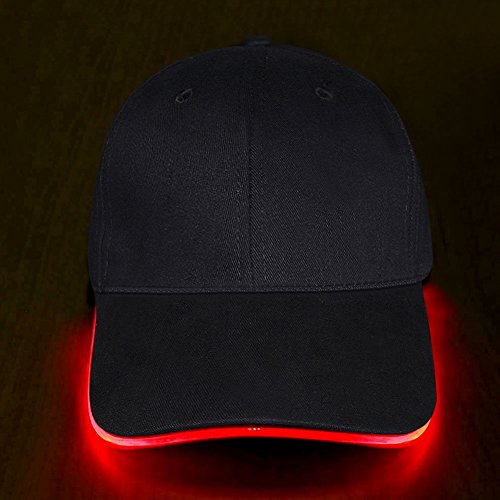 LED Hat - Ultra Bright Lights Unisex Baseball Cap One Size Fits All (Red)