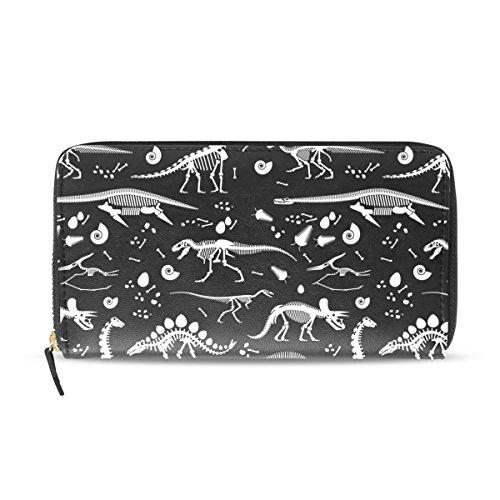 Womens Zipper Wallet Dinosaur Skeleton Clutch Purse Card Holder Bag by WIHVE