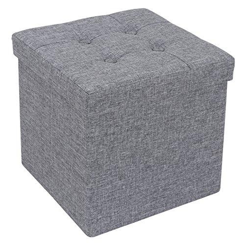 Smartxchoices 15'' Foldable Cube Storage Ottoman Seat Bench Footrest Seat,Gray Fabric (Gray 15'' Cube)