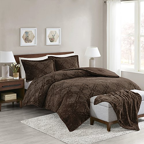 Brown Comforter - Comfort Spaces - Odessa Comforter Set + Long Fur Throw Combo - 4 Piece - Chocolate - Snugly Warm and Ultra Soft - Full/Queen Size, Includes 1 Comforter, 2 Shams