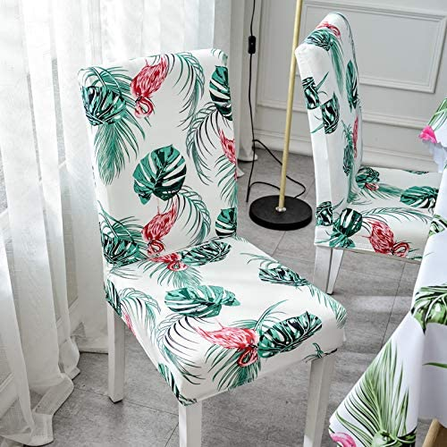 YF Flamingo Pattern Chair Cover Home Set Chair Back Height 38-58Cm Seat Length 38-50Cm Seat Width 38-50Cm (4Pcs)