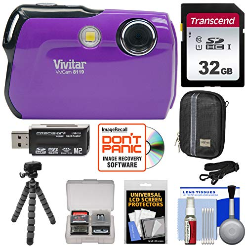 Vivitar ViviCam 8119 Digital Camera (Purple) with 32GB Card + Case + Flex Tripod + Reader + Kit