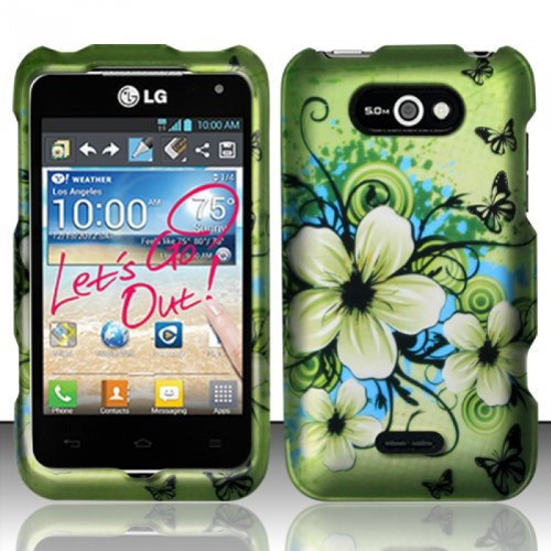 For LG Motion 4G MS770/P870 (MetroPCS) Rubberized Design Cover - Hawaiian Flowers (Cases Metro Lg Pcs Phone Motion)