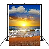 5x7ft Beach Backdrop for Photography Vinyl Dramatic Sunset Sea Photo Background Props Summer Party Decoration