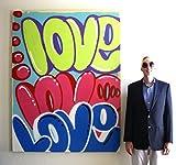 CHRIS RIGGS Original Love graffiti fine art painting 72'' x 57'' pop street art spray paint NYC acrylic contemporary modern art urban art work