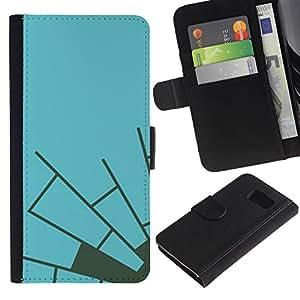 Paccase / Billetera de Cuero Caso del tirón Titular de la tarjeta Carcasa Funda para - Blue Grey Spider Web Minimalist - Samsung Galaxy S6 SM-G920