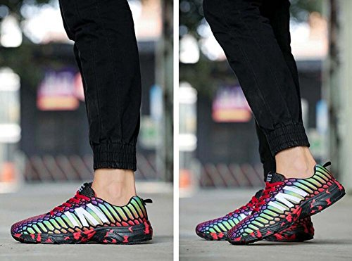 Chaussures de sport pour hommes Chaussures de course Hommes Baskets Printemps Été Automne Hiver Confort PU Casual Talon Plat Athlétique Vert Rouge Gris Eu Taille 38-47 Rouge V9EL8