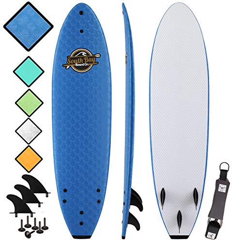 Soft Top Surfboard - Best Foam Surf Board for Beginners, Kids, and Adults - Soft Top Surfboards for Fun & Easy Surfing - 7' Ruccus, 8' Verve & 8'8 Heritage Surfboards All Wax-Free (Best Mini Longboard Surfboard)