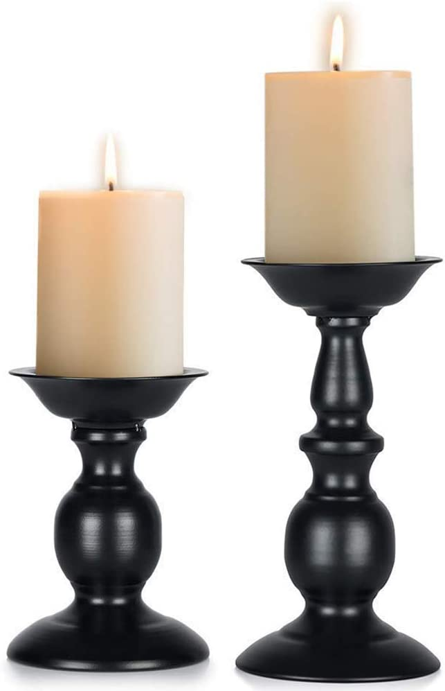 Szqiqi Retro Iron Candle Holder Cylindrical Candle Holder Table Candle Holder for Wedding, Festival and Birthday Candlelight Dinner Decorative Light Home Décor Ornament Wedding Table Ornament (2Pcs)