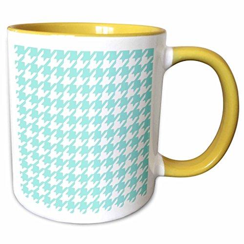 3dRose InspirationzStore Houndstooth patterns - Aqua blue and white houndstooth pattern - pastel turquoise teal shabby chic preppy stylish classy - 15oz Two-Tone Yellow Mug (mug_113011_13)
