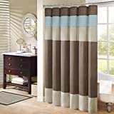 Blue and Brown Shower Curtain Madison Park Trinity Fabric Brown and Blue Shower Curtain, Pieced Transitional Simple Shower Curtains for Bathroom, 72 X 72, Natural and Teal