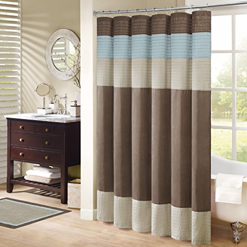 - Madison Park Pieced Faux Dupioni and Polyester Shower Curtain Color: Natural/Trinity Blue,
