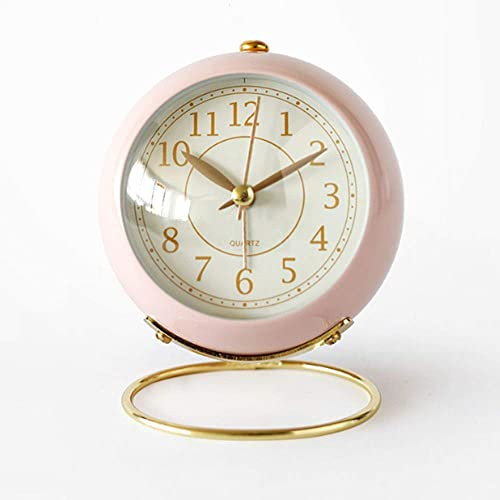 JUSTUP Silent Small Table Clocks, Classic Non-Ticking Quartz Tabletop Analog Alarm Clock Battery Operated Desk Clock with Backlight HD Glass for Bedroom Living Room Kitchen Indoor Decor Pink