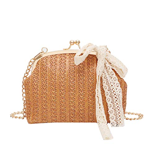 Satchels Bag for Women THENLIAN Beach Bow Straw Bag Burlap Square Bag Beach Lock Messenger Bag(Free, Brown)