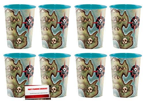 Pirate Pirate's Map 16 oz Plastic Favor Cups 8 Pack (Plus Party Planning Checklist by Mikes Super Store) -