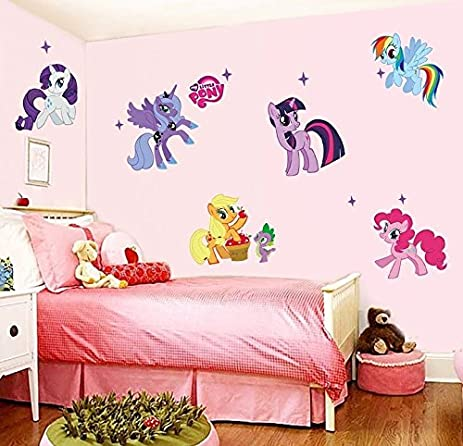 Wall Decal Stickers Pony Horses 6 Ponies Unicorn Kids Bedroom Nursery Daycare And Kindergarten Mural Home
