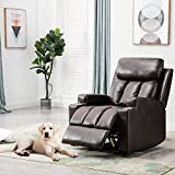 Recliner Chair Contemporary Theater Seating two Cup Holder Brown Leather Chairs for Modern Living room Durable Framework