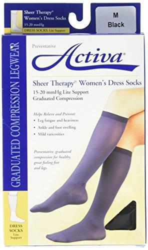 Activa 15-20 mmHg   Sheer Therapy Women's Socks, Black, (Activa Support Socks)
