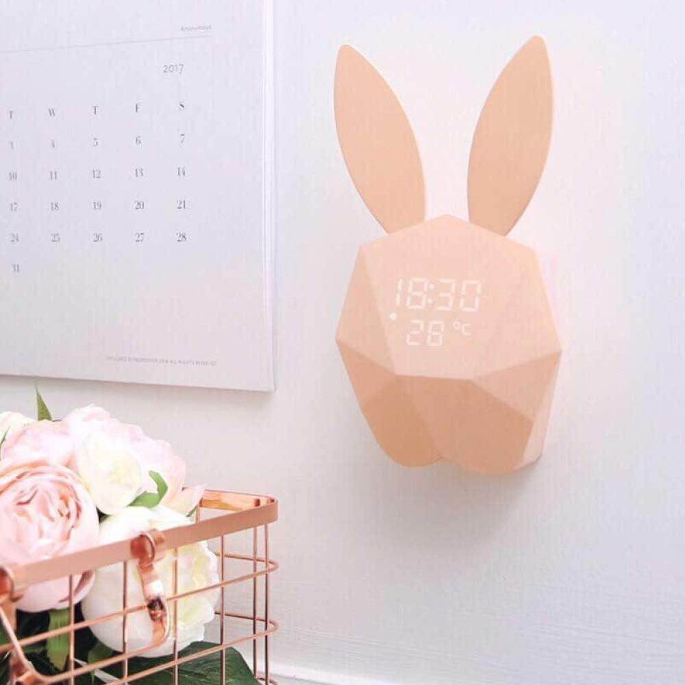 GYZBYReloj Despertador Musical Luminoso Digital Mudo Dormitorio Reloj De Cabecera Conejo De Dibujos Animados Niño Estudiante Despertador