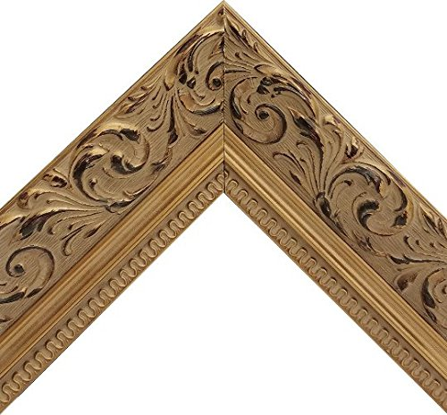 Vintage Ornate Baroque Gold Framed Beveled Wall Mirror With Espresso Floral Patterned Motif (16x20 Inch) ()