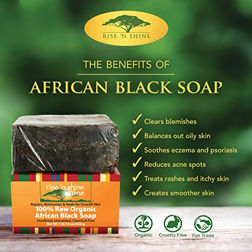 Raw African Black Soap Bar with Coconut Oil and Shea Butter – Body Wash, Shampoo and Face Wash – Helps Clear Dry Skin, Acne, Eczema, Psoriasis – Authentic Organic Homemade Soap Bar from Ghana 2 Pack