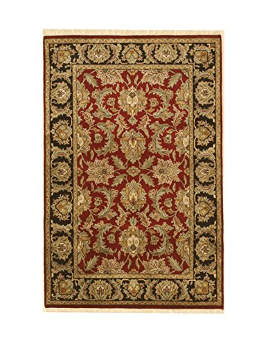 EORC 9235 Hand Knotted Wool Jaipur Rug, 3'11 x 6', Red