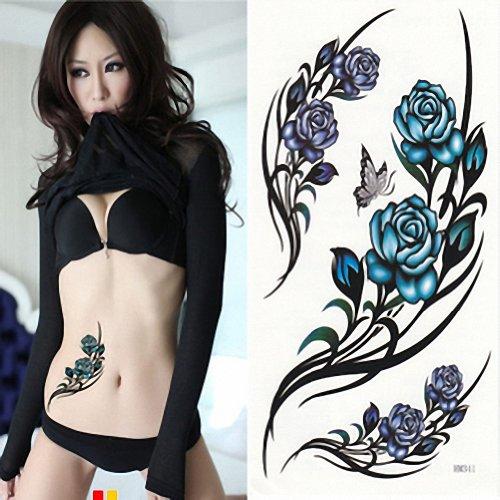 Papier autocollant de tatouage temporaire MapofBeauty Blue Rose 10 Sheets Per Pack-Unisexe