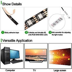 ( 2-Pack) SOLLED Bias Lighting for HDTV 60 LEDs TV Backlight, 3.28Ft Ambient TV Lighting Multi-Color Flexible 5050 RGB USB LED Strip, Best for Flat Screen/HDTV/Desktop PC Monitor Background Lighting