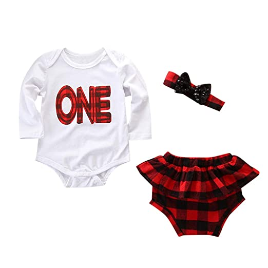 8e1a303c8508 Amazon.com  Baby Girls Romper Set Newborn Girls Ruffle Jumpsuit Plaid  Shorts Headband Summer Outfit  Clothing