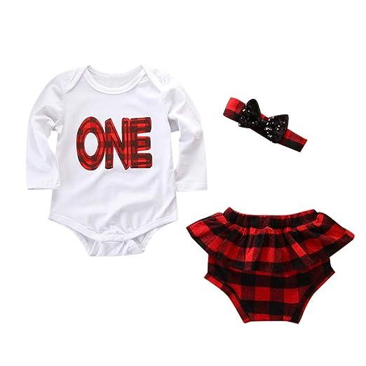 a5ce3497374 Amazon.com  Baby Girls Romper Set Newborn Girls Ruffle Jumpsuit Plaid  Shorts Headband Summer Outfit  Clothing