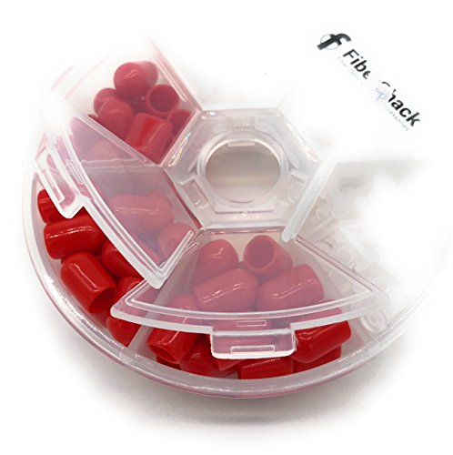 FiberShack - Dust Cap Kit for Fiber Optic Cables, End Faces and Devices. Contains 200 2.5mm Clear FC/SC/ST Ferrules and 50 Red ST Debris Covers - Includes Durable Compartment Carry case