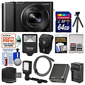 Panasonic Lumix DMC-ZS100 4K Wi-Fi Digital Camera with 64GB Card + Battery & Charger + Case + Flash + LED Light & Bracket + Flex Tripod Kit by Panasonic