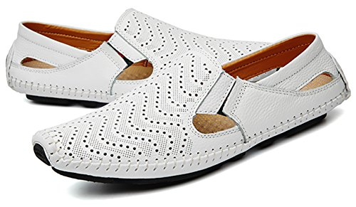 Slip Casual Shoes Adadila Fashion Loafers on Driving White Slipper Leather Men's nwxx0zqOf