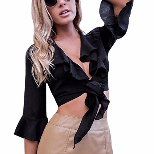 QIYUN.Z Las Mujeres Forman A Falbala El V-Cuello Ata Con Correa El Vientre Del Midriff Mini Remata Las Camisas De La Rebeca Negro