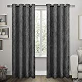 Exclusive Home Twig Insulated Blackout Window Curtain Panel Pair with Grommet Top, Charcoal