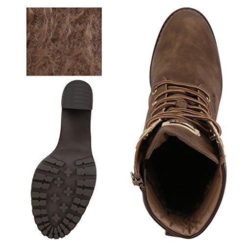napoli-fashion Damen Schuhe Schnürstiefeletten Worker Boots Stiefeletten Block Absatz Jennika Khaki