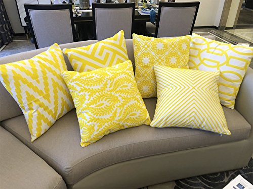 Tang city Yellow Throw Pillow Cover Soft Cotton Embroidered Cushion Covers Yellow Pillows Decorative Pillow Cases Floral Designs Throw Pillow Covers(Yellow, Set of 6 18