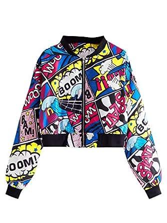SheIn Women's Fashion Long Sleeve Comic Print Crop Bomber Zipper Jacket Multicoloured Small