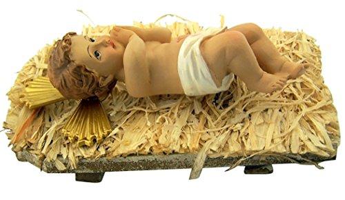 Infant Jesus Christ in Crib 2 Piece Resin Christmas Nativity Statue, 7 Inch (Christmas Belen)
