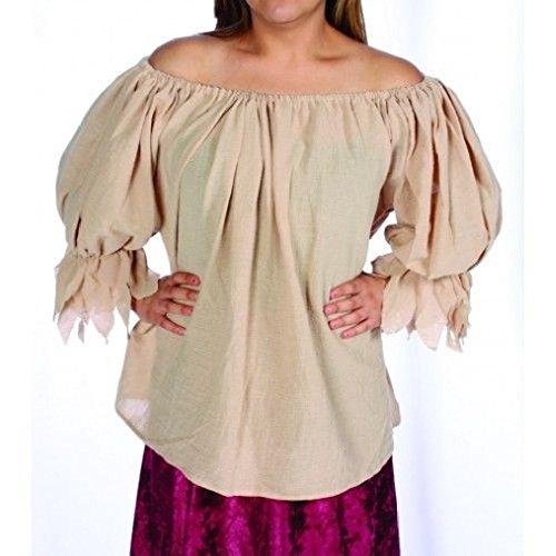 Gauze Black Pirate Shirt Costumes (OvedcRay Adult Womens Lady Gauze Pirate Blouse Peasant Renaissance Wench Costume Shirt)
